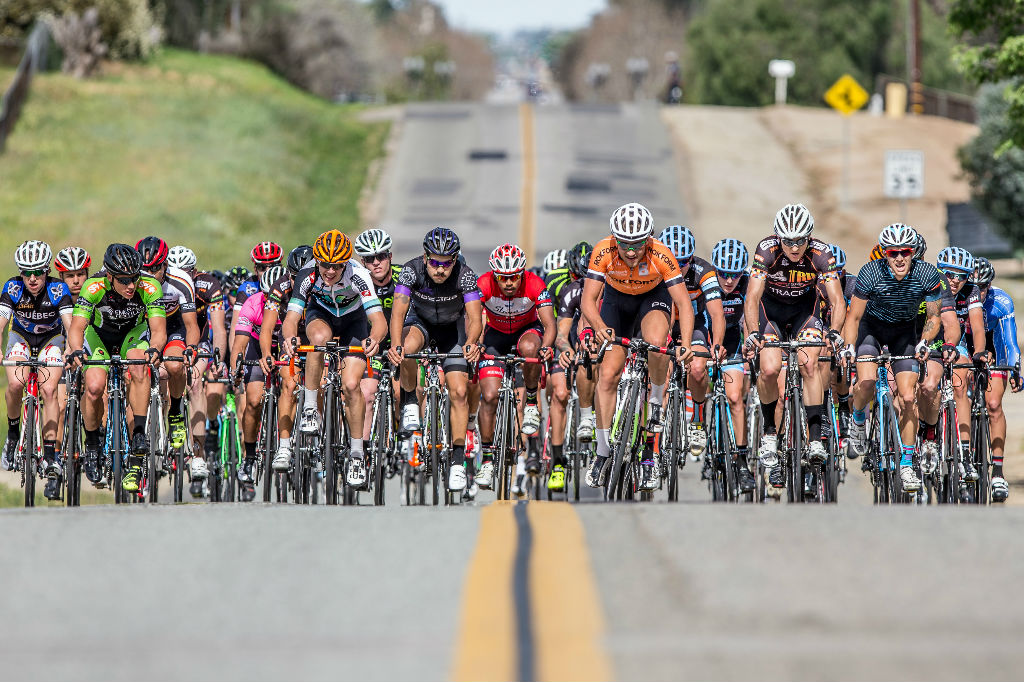 Racers battle for position on Sunday's challenging Circuit race, a rolling 4 mile course.